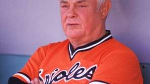 Earl Weaver of the Baltimore Orioles watches from
