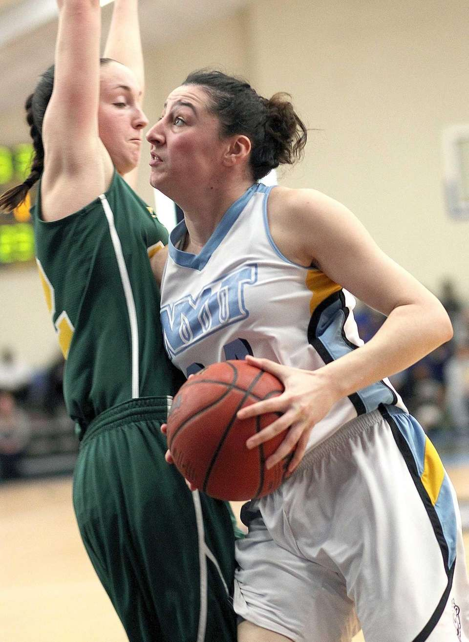 NYIT's Rebecca Lynch gets underneath against LIU Post's