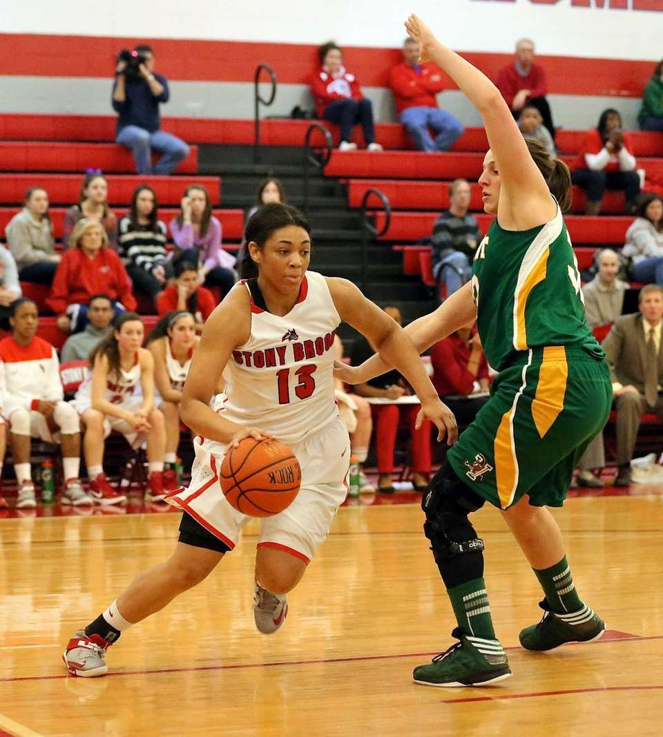 Stony Brook's Sabre Proctor drives the baseline as