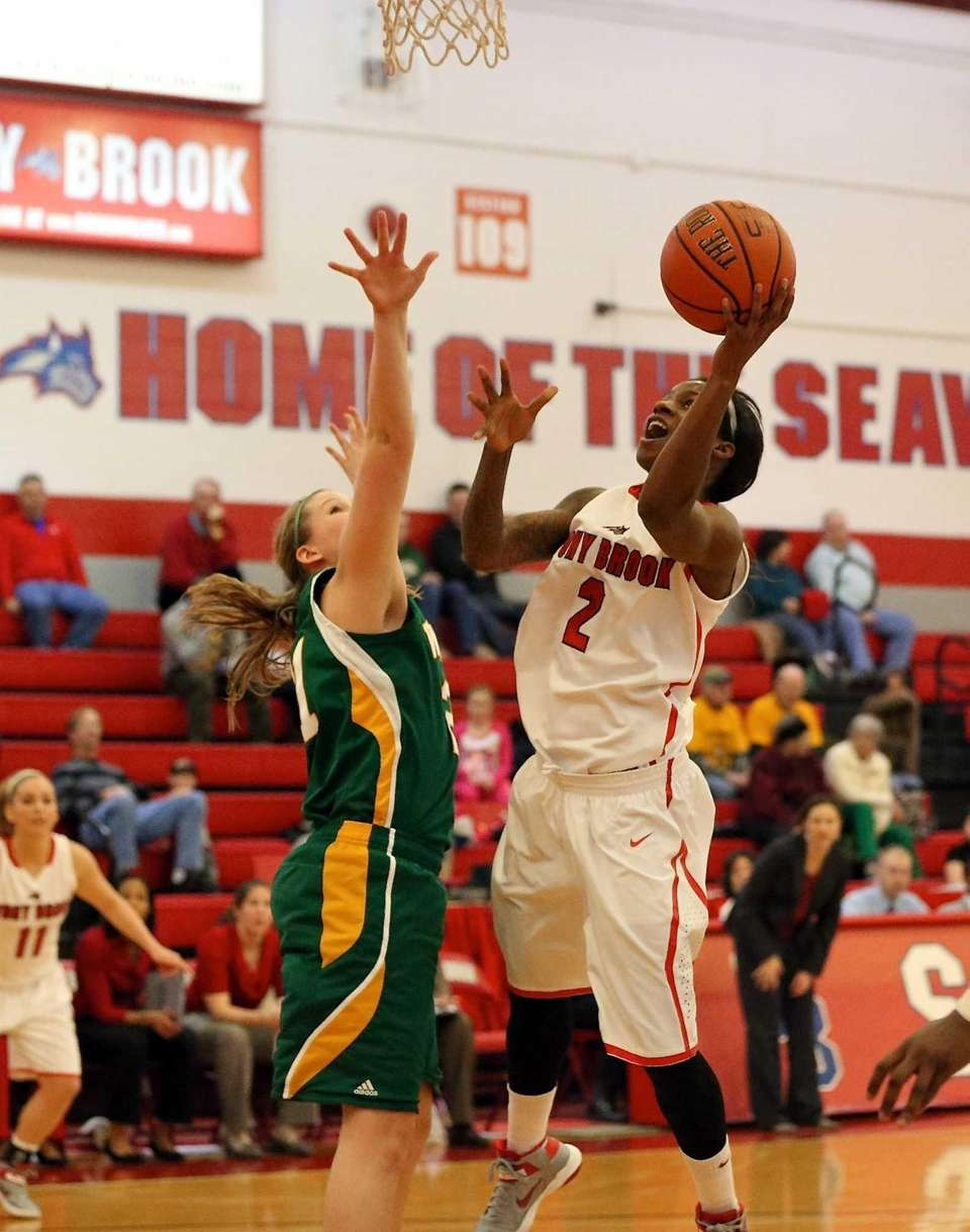 Stony Brook's Jessica Previlon drives the lane for