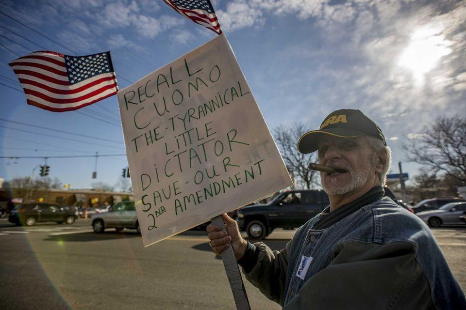 Gun rights advocates at a rally in Huntington