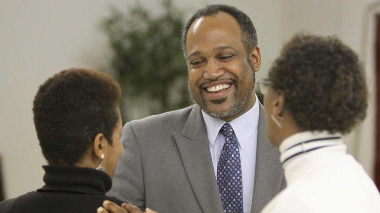 Suffolk County Legislator DuWayne Gregory speaks with Janie