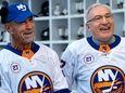 Islanders legends Bob Nystrom, left, and John Tonelli