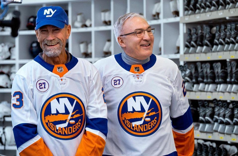 Legendary NY Islanders Bob Nystrom, left, and John