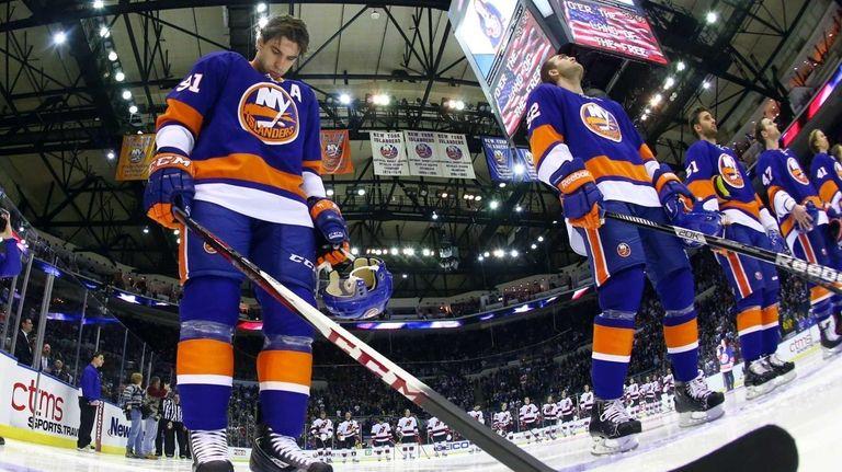 John Tavares of the New York Islanders stands