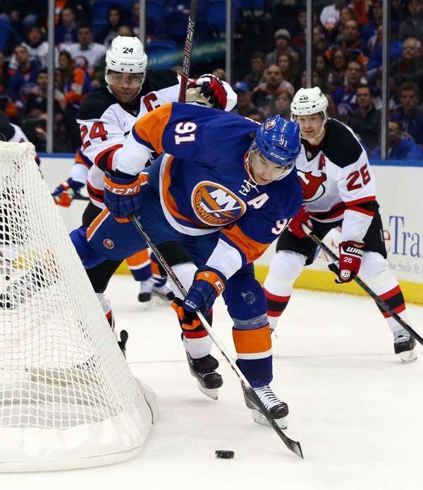 John Tavares of the New York Islanders tries