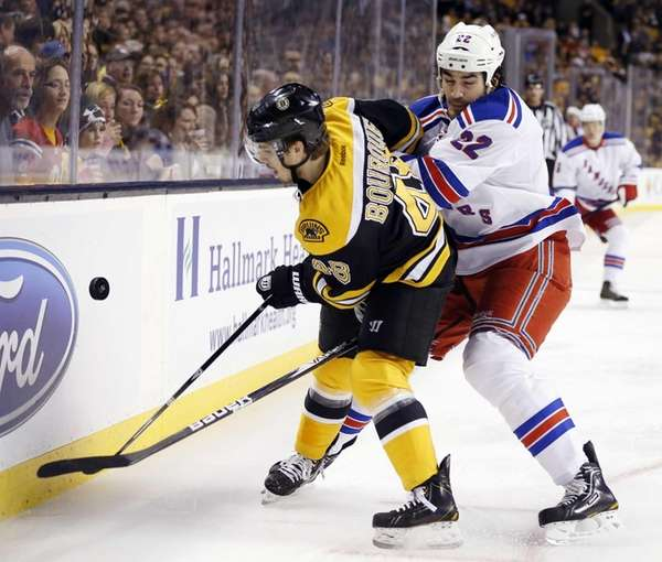 Boston Bruins' Chris Bourque and New York Rangers'