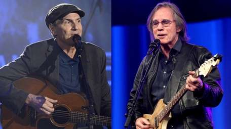 Singer-songwriters James Taylor, left, and Jackson Browne appear