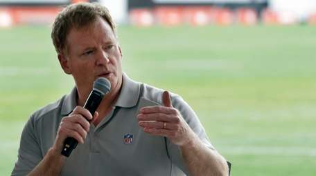 NFL Commissioner Roger Goodell answers questions during a