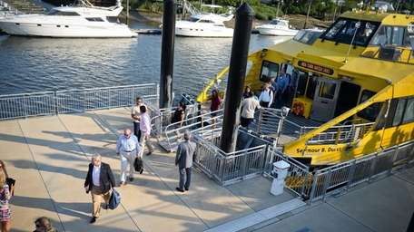 Commuters from Manhattan arrive at Glen Cove Ferry