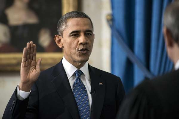 President Barack Obama is officially sworn in by