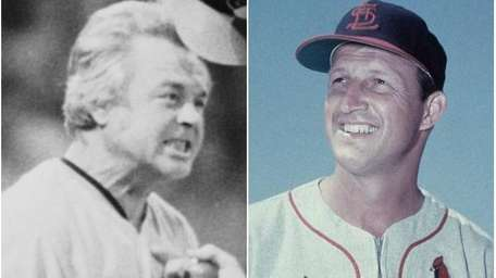 Former Baltimore Orioles manager Earl Weaver, left, and