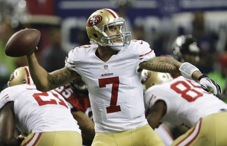 San Francisco 49ers' quarterback Colin Kaepernick passes during