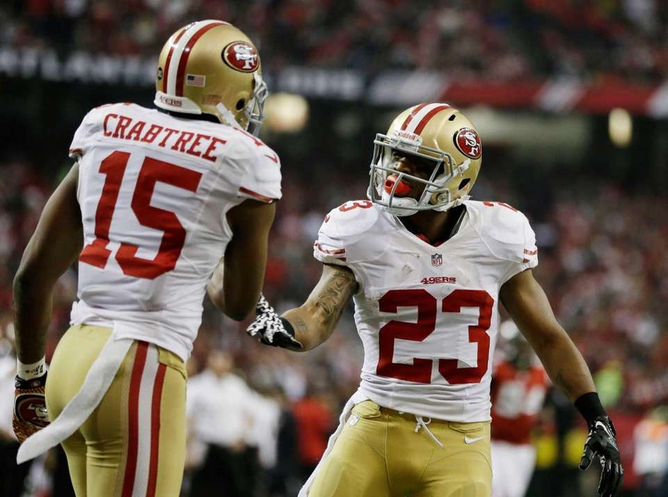 San Francisco 49ers' LaMichael James celebrates his touchdown