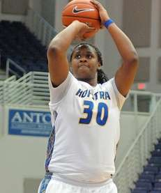 Hofstra senior Shante Evans shoots a free throw