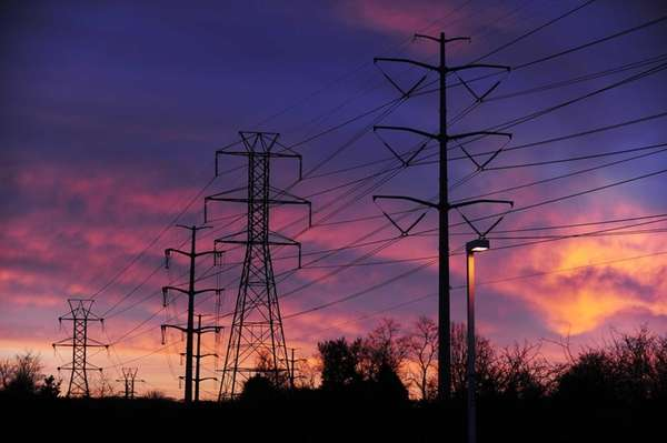 Power lines seen at sunrise in Melville. (Jan.