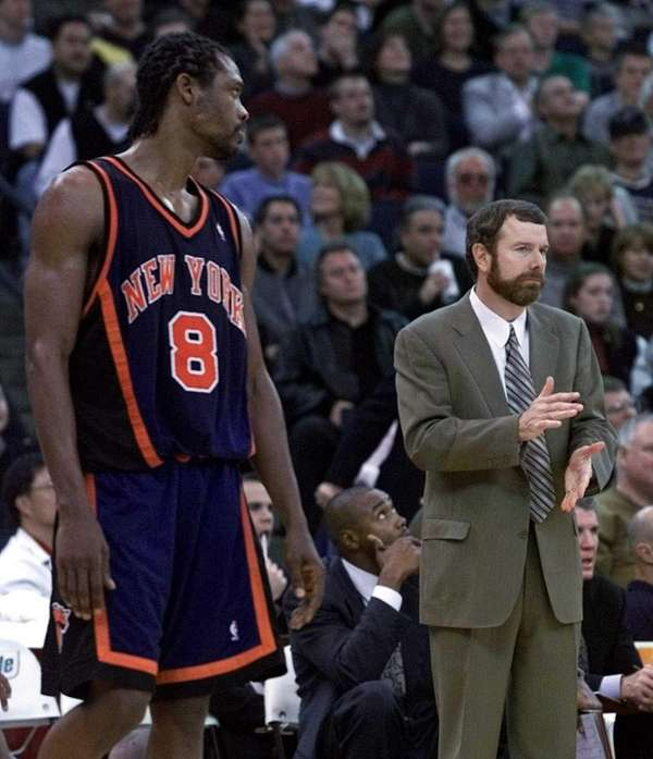 Latrell Sprewell, then playing with the Knicks, looks