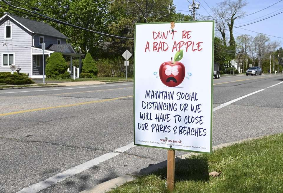 A sign in Westhampton Beach on Tuesday, May