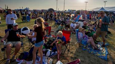 Concertgoers seen on the main lawn at the