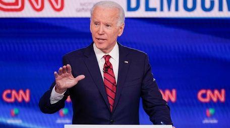 Former Vice President Joe Biden participates in a
