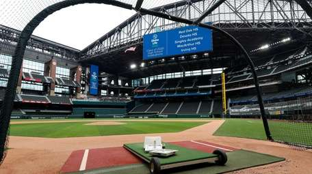 A home plate perspective of Globe Life Field,