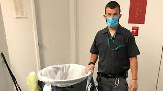 A cleaner at the Cohalan Court Complex in