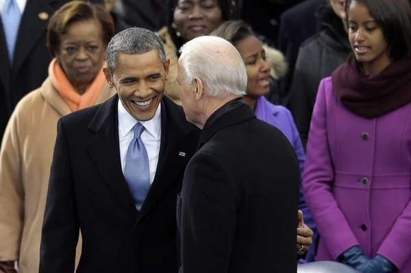 President Barack Obama greets Vice President Joe Biden