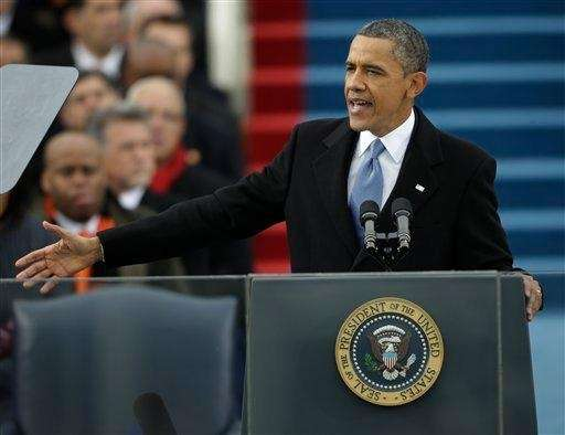President Barack Obama speaks at his ceremonial swearing-in