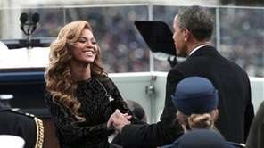 President Barack Obama greets Beyonce on the West