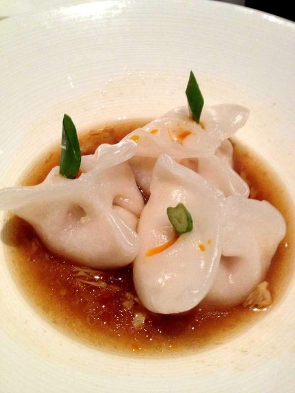 Shrimp dumplings in egg-drop broth are among the