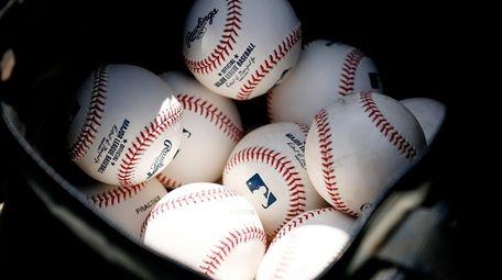 A detail of baseballs during a Grapefruit League