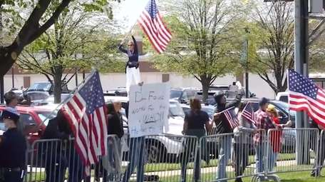 This screenshot from video shows a recent protest