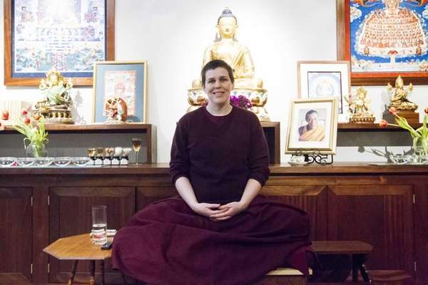 Gen Norden, a Buddhist nun, sits in the