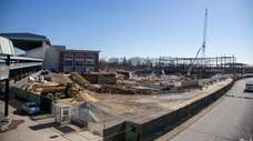 Construction at the Islanders' new Belmont arena on