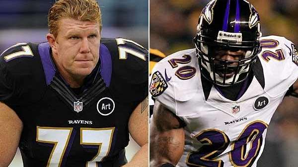 Matt Birk, left, and Ed Reed, right, are
