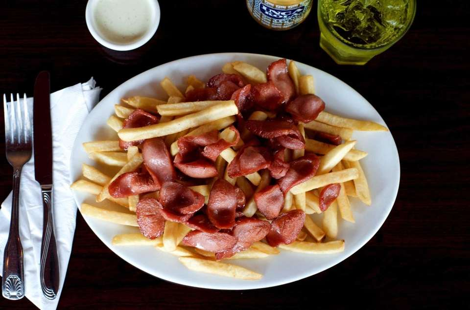 Golden Chicken's salchipapas, a curiously compelling Peruvian specialty