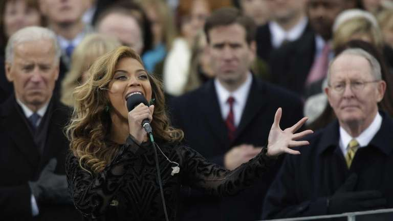 Beyonce performs the national anthem at the ceremonial