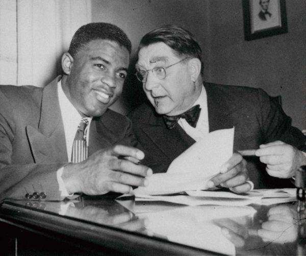 Jackie Robinson with Brooklyn Dodgers president Branch Rickey