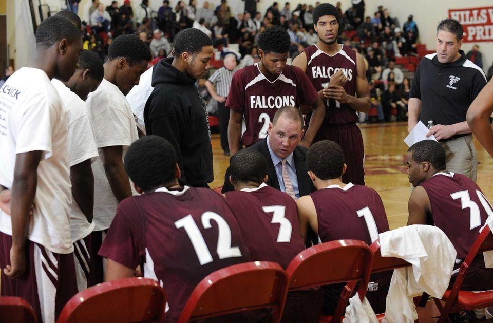 Deer Park head coach John McCaffrey speaks to