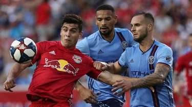 Red Bulls forward Brian White (left) and NYCFC