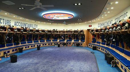 A view of the Islanders' empty locker room