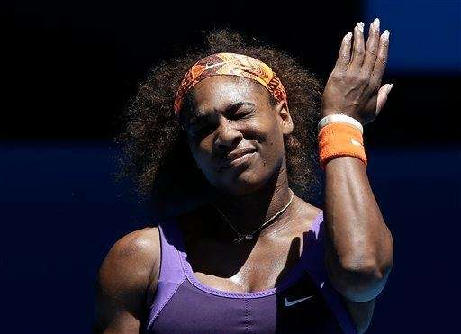 Serena Williams reacts during her quarterfinal match against