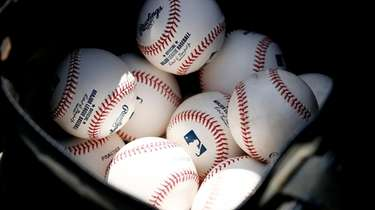 A detail of baseballs during a Grapefruit League