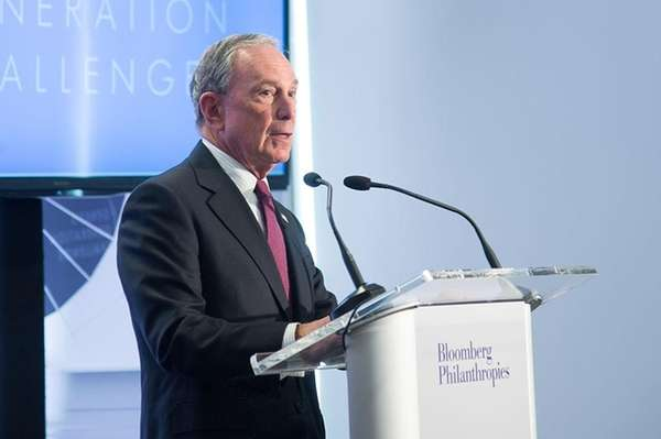New York City Mayor Michael Bloomberg speaks with