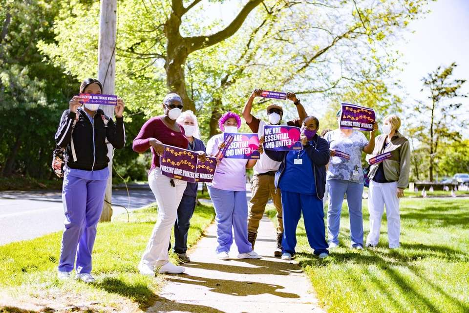 Medical assistants and nurses gathered for a silent