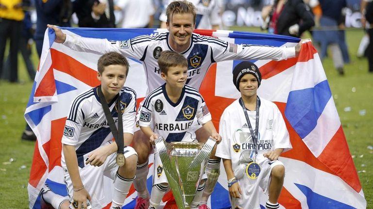 Los Angeles Galaxy's David Beckham, top center, of