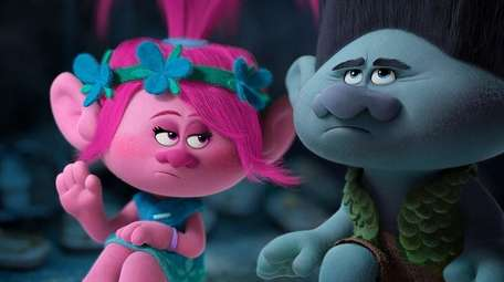 Animated characters Poppy, left, voiced by Anna Kendrick,