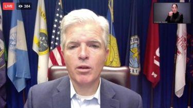 Suffolk County Executive Steve Bellone giving an update