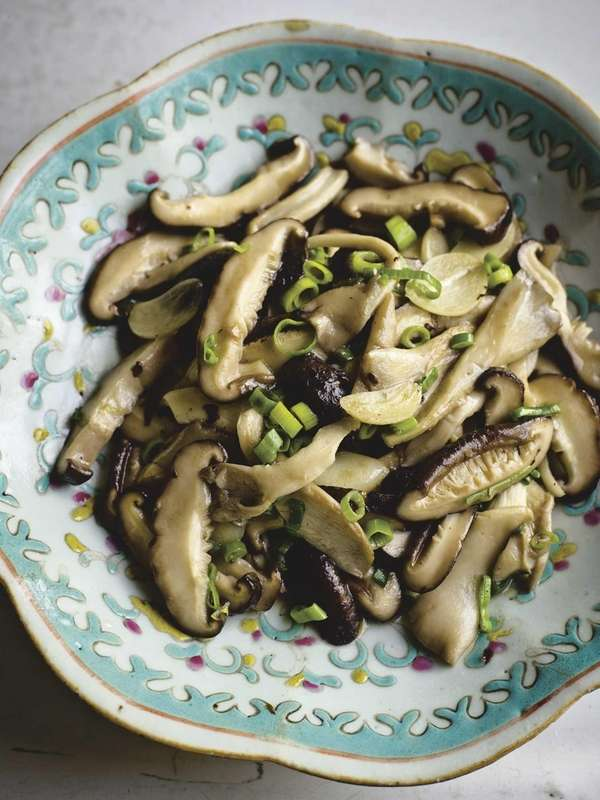 Stir-fried oyster and shiitake mushrooms with garlic, from