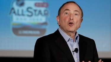 NHL Commissioner Gary Bettman speaks at a news